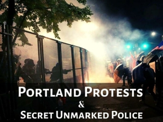 Federal law enforcement officers confront Portland protesters