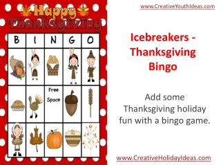 Icebreakers - Thanksgiving Bingo